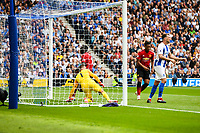 Romelu Lukaku of Manchester United (9) Scores his teams 1st goal of the game  during the Premier League match between Brighton and Hove Albion and Manchester United at the American Express Community Stadium, Brighton and Hove, England on 19 August 2018. Photo by Edward Thomas / PRiME Media Images.