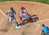 20 May 2018: Los Angeles Dodgers infielder Enrique Hernandez comes home to score against the Washington Nationals at Nationals Park in Washington, DC. The Dodgers defeated the Nationals 7-2, sweeping their 3-game series. Mandatory Credit: Ed Wolfstein Photo *** RAW (NEF) Image File Available ***