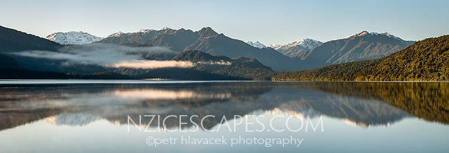 Lake Kaniere near Hokitika at sunrise, West Coast, South Westland, South Island, New Zealand, NZ