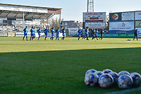 Players of KRC Genk  pictured during the warming up of a female soccer game between Eendracht Aalst and Racing Genk on the fifth matchday of the 2020 - 2021 season of Belgian Scooore Womens Super League , Saturday 28 th of November 2020  in Aalst , Belgium . PHOTO SPORTPIX.BE | SPP | DIRK VUYLSTEKE
