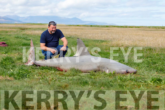 Val Burke standing with the remains of a Port Beagle Shark that was stranded in Derrymore on Friday.