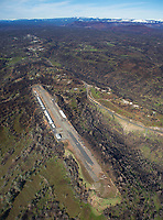 aerial photograph of the the Paradise Airport (CA92) during the aftermath of the  2018 Camp Fire, Paradise, Butte County, California