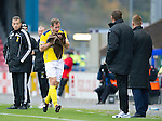 Inverness Caledonian Thistle v St Johnstone...27.10.12      SPL.Frazer Wright goes off with a busted nose.Picture by Graeme Hart..Copyright Perthshire Picture Agency.Tel: 01738 623350  Mobile: 07990 594431