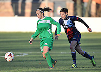 20131211 - HENIN-BEAUMONT , France :  Henin's Morgane Duporge (left) pictured on the ball with PSG's Linda Bresonik in her back (right)  during the female soccer match between FC Henin Beaumont and Paris Saint-Germain Feminin , of the Ninth matchday in the French First Female Division . Wednesday 11 December 2013. PHOTO DAVID CATRY