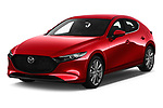 2019 Mazda Mazda-3 Style 5 Door Hatchback angular front stock photos of front three quarter view