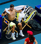 Rafael Nadal of Spain chages his jersey during the Day 7 of the PTT Thailand Open at Impact Arena on October 1, 2010 in Bangkok, Thailand. Photo by Victor Fraile / The Power of Sport Images