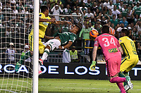 CALI - COLOMBIA - 14 - 06 - 2017: Cesar Amaya (Der.) jugador de Deportivo Cali disputa el balón con Aldo Leao Ramirez (Izq.) jugador de Atletico Nacional, durante partido de ida de la final entre Deportivo Cali y Atletico Nacional, por la Liga Aguila I-2017, jugado en el estadio Deportivo Cali (Palmaseca) de la ciudad de Cali. / Cesar Amaya (R) player of Deportivo Cali vies for the ball with Aldo Leao Ramirez (L) player of Atletico Nacional, during a match of the first leg of the finals between Deportivo Cali and Atletico Nacional, for the Liga Aguila I-2017 at the Deportivo Cali (Palmaseca) stadium in Cali city. Photo: VizzorImage  / Luis Ramirez / Staff.