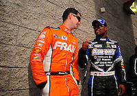 Apr. 1, 2012; Las Vegas, NV, USA: NHRA top fuel dragster driver Spencer Massey (left) with Antron Brown during the Summitracing.com Nationals at The Strip in Las Vegas. Mandatory Credit: Mark J. Rebilas-