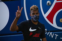 LISBON, PORTUGAL - AUGUST 15: A player gestures as the team arrive to Myriad hotel in Lisbon, on August 15, 2020.Paris Saint-Germain won against Atalanta (2-1), this Wednesday in Lisbon, to qualify for the semifinals of the Champions League, for the first time since 1995. They will play againist the RB Leipzig on Tuesday.<br /> (Photo by Luis Boza/VIEWpress via Getty Images)