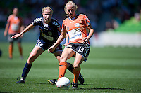 MELBOURNE, AUSTRALIA - DECEMBER 4: Tameka Butt of Brisbane Roar passes the ball in round 5 of the Westfield W-league match between Melbourne Victory and Brisbane Roar on 4 December 2010 at AAMI Park in Melbourne, Australia. (Photo Sydney Low / asteriskimages.com)