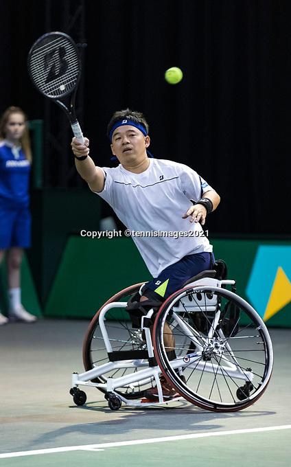 Rotterdam, The Netherlands, 4 march  2021, ABNAMRO World Tennis Tournament, Ahoy, First round wheelchair: Takashi Sanada (JPN).<br /> Photo: www.tennisimages.com/