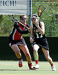 GER - Hannover, Germany, May 30: During the Women Lacrosse Playoffs 2015 match between DHC Hannover (black) and SC Frankfurt 1880 (red) on May 30, 2015 at Deutscher Hockey-Club Hannover e.V. in Hannover, Germany. Final score 23:3. (Photo by Dirk Markgraf / www.265-images.com) *** Local caption *** Inga Hupka #8 of SC 1880 Frankfurt, Insa Kriwall #17 of DHC Hannover