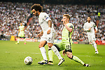 Real Madrid's Marcelo and Manchester City's Kevin De Bruyne during Champions League 2015/2016 Semi-Finals 2nd leg match at Santiago Bernabeu in Madrid. May 04, 2016. (ALTERPHOTOS/BorjaB.Hojas)