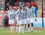Tope Obadeyi scores his second and Kilmarnock's third goal and celebrates