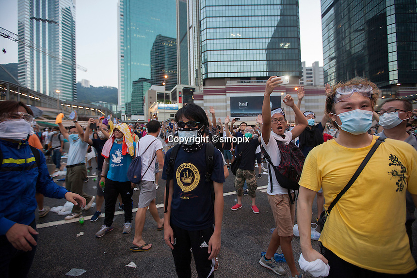 Pro-democracy protesters are seen during the first day of the mass civil disobedience campaign Occupy Central, Hong Kong, China, 28 September 2014.