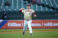 Brian Rapp (27) of the Boston College Eagles makes a throw to first base against the North Carolina Tar Heels in Game Five of the 2017 ACC Baseball Championship at Louisville Slugger Field on May 25, 2017 in Louisville, Kentucky. The Tar Heels defeated the Eagles 10-0 in a game called after 7 innings by the Mercy Rule. (Brian Westerholt/Four Seam Images)