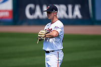 Minnesota Twins outfielder Max Kepler (26) during a Major League Spring Training game against the Pittsburgh Pirates on March 16, 2021 at Hammond Stadium in Fort Myers, Florida.  (Mike Janes/Four Seam Images)