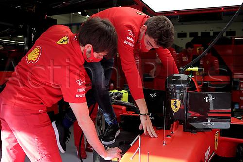 12th November 2020; Istanbul Park, Istanbul, Turkey;   FIA Formula One World Championship 2020, Grand Prix of Turkey, 16 Charles Leclerc MCO, Scuderia Ferrari Mission Winnow speaks to technicians