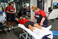 Swansea City's Leon Britton in the gym on his first day back for the new season.