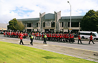 Pictured: The Welsh Guards parade through St Helen's Street past the Crown Court in Swansea.  Friday 15 September 2017<br />