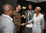 Michael R. Jackson, Christopher Shinn, Jeremy O. Harris with his mom attends the Vineyard Theatre Paula Vogel Playwriting Award honoring Jeremy O. Harris on October 12, 2018 at the National Arts Club in New York City.