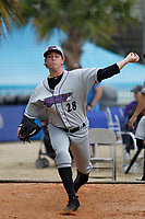 Winston-Salem Dash pitcher John Parke (28) warming up in the bullpen before a game against the Myrtle Beach Pelicans at Ticketreturn.com Field at Pelicans Ballpark on July 23, 2018 in Myrtle Beach, South Carolina. Winston-Salem defeated Myrtle Beach 6-1. (Robert Gurganus/Four Seam Images)