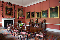 Portraits dating back to the 16th century in the drawing room, some of which are swathed in Grinling Gibbons carvings. The dining room, along with much of the rest of the house, had to be completely renovated after a flood in 1959