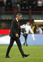 Calcio, Serie A: Milan vs Juventus. Milano, stadio San Siro, 9 aprile 2016. <br /> AC Milan's coach Sinisa Mihajlovic leaves the pitch at the end of the Italian Serie A football match between AC Milan and Juventus at Milan's San Siro stadium, 9 April 2016. Juventus won 2-1.<br /> UPDATE IMAGES PRESS/Isabella Bonotto