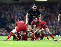 Pictured: Rhys Webb of Wales (R) passes the ball Saturday 22 November 2014<br />