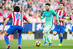 Lionel Andres Messi (c) of FC Barcelona is followed by Gabriel Fernandez Arenas, Gabi, (r) of Atletico de Madrid during their La Liga match between Atletico de Madrid and FC Barcelona at the Santiago Bernabeu Stadium on 26 February 2017 in Madrid, Spain. Photo by Diego Gonzalez Souto / Power Sport Images