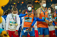 2nd May 2021; Silesian Stadium, Chorzow, Poland; World Athletics Relays 2021. Day 2; Liemarvin Bonevacia dancing to the tune of his gold medal in the mens 4 x 400 for the Netherlands
