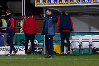 16th March 2021; Dens Park, Dundee, Scotland; Scottish Championship Football, Dundee FC versus Ayr United; Dundee manager James McPake shows his exasperation with his team