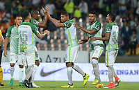 MEDELLIN -COLOMBIA, 20-8-2017. Jugadores de Atlético Nacional  celebran después de anotar un gol a Alianza Petrolera durante partido por la fecha 9 de la Liga Aguila II 2017 jugado en el estadio Atanasio Girardot de la ciudad de Medellín. /  Players of Atletico Nacional celebrate after scoring a goal to Alianza Petrolera  during match for the date 9 of the Aguila League II 2017 played at Atanasio Girardot stadium in Medellin city . Photo:VizzoImage /León Monsalve  / Stringer