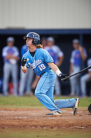 SCF Manatees Reilly Johnson (19) hits a double during a game against the College of Central Florida Patriots on February 8, 2017 at Robert C. Wynn Field in Bradenton, Florida.  SCF defeated Central Florida 6-5 in eleven innings.  (Mike Janes/Four Seam Images)