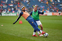 Bridgeview, IL - Saturday April 14, 2018: Zlatan Ibrahimovic, Perry Kitchen during a regular season Major League Soccer (MLS) match between the Chicago Fire and the LA Galaxy at Toyota Park.  The LA Galaxy defeated the Chicago Fire by the score of 1-0.