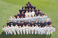 A pyramid of Essex CCC players of all ages, topped by Alastair Cook, poses for a photograph on the outfield - Essex County Cricket Club Press Day at the Essex County Ground, Chelmsford, Essex - 02/04/13 - MANDATORY CREDIT: Gavin Ellis/TGSPHOTO - Self billing applies where appropriate - 0845 094 6026 - contact@tgsphoto.co.uk - NO UNPAID USE.