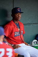 Jacksonville Jumbo Shrimp Anfernee Seymour (4) in the dugout before a game against the Biloxi Shuckers on June 8, 2018 at Baseball Grounds of Jacksonville in Jacksonville, Florida.  Biloxi defeated Jacksonville 5-3.  (Mike Janes/Four Seam Images)