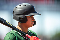 Great Lakes Loons shortstop Leonel Valera (8) waits on deck on May 30, 2021 against the Lansing Lugnuts at Jackson Field in Lansing, Michigan. (Andrew Woolley/Four Seam Images)