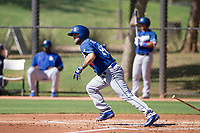 Jacob Roberts (88) of the Los Angeles Dodgers starts down the first base line during an Instructional League game against the Chicago White Sox on September 30, 2017 at Camelback Ranch in Glendale, Arizona. (Zachary Lucy/Four Seam Images)