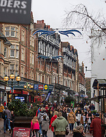 BNPS.co.uk (01202 558833)<br /> Pic: PhilYeomans/BNPS<br /> <br /> Old Christchurch Road in Bournemouth - three strands of light of which only two are working...<br /> <br /> Are these Britain's worst Christmas lights?<br /> <br /> Traders have slammed a council's 'horrible' Christmas lights on a high street at a seaside resort.<br /> <br /> The underwhelming display features three sorry strands of lights which hang above a road in Bournemouth, Dorset.<br /> <br /> They say that one of the strands of lights, which are nearly 20 years old, does not work.<br /> <br /> Shop owners on the stretch of road have labelled them 'unacceptable' in light of the hefty business rates they pay to Bournemouth, Christchurch and Poole Council (BCP).