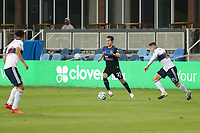 SAN JOSE, CA - OCTOBER 07: Carlos Fierro #21 of the San Jose Earthquakes is defended by Jake Nerwinski #28 of the Vancouver Whitecaps during a game between Vancouver Whitecaps and San Jose Earthquakes at Earthquakes Stadium on October 07, 2020 in San Jose, California.