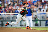 Miami Hurricanes pitcher Sam Abrams (31) delivers a pitch to the plate against the Florida Gators in the NCAA College World Series on June 13, 2015 at TD Ameritrade Park in Omaha, Nebraska. Florida defeated Miami 15-3. (Andrew Woolley/Four Seam Images)