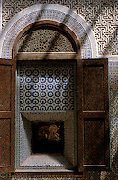Ornately decorated window shutter, Telouet, Morocco.