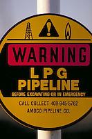 Petroleum industry ; oil ; pipeline ; sign ; warning ; excavate ; dig. Houston Texas.
