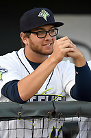 Pitcher Anthony Kay (18) of the Columbia Fireflies waits for a game to begin against the Augusta GreenJackets on Opening Day, Thursday, April 5, 2018, at Spirit Communications Park in Columbia, South Carolina. Columbia won, 4-2. (Tom Priddy/Four Seam Images)