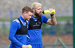 St Johnstone Training...<br />Shaun Rooney and James Brown pictured during training ahead of tomorrow nights Premier Sports Cup quarter final against Dundee<br />Picture by Graeme Hart.<br />Copyright Perthshire Picture Agency<br />Tel: 01738 623350  Mobile: 07990 594431
