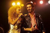 Martine Saint-Clair (L) join Jean-Marc Pisapia, singer The Box in concert / en spectacle<br /> Circa 1987- Montreal