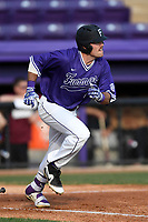 Right fielder Landon Kay (44) of the Furman Paladins bats in game two of a doubleheader against the Harvard Crimson on Friday, March 16, 2018, at Latham Baseball Stadium on the Furman University campus in Greenville, South Carolina. Furman won, 7-6. (Tom Priddy/Four Seam Images)