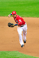 24 April 2010: Washington Nationals' infielder Ian Desmond gets Los Angeles Dodgers' shortstop Rafael Furcal out in the 9th inning at Nationals Park in Washington, DC. The Dodgers edged out the Nationals 4-3 in a thirteen inning game. Mandatory Credit: Ed Wolfstein Photo