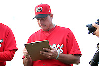 Batavia Muckdogs manager Dann Bilardello #11 signs autographs the teams pre-season pep rally at Dwyer Stadium on June 15, 2011 in Batavia, New York.  Photo By Mike Janes/Four Seam Images